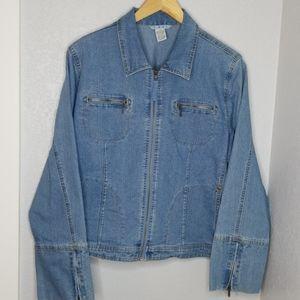 CAbi jean zip long sleeve jacket w/pockets size XL
